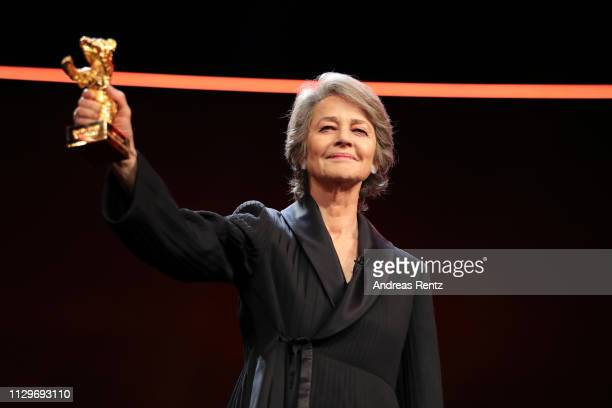 Charlotte Rampling is seen on stage at the Homage Charlotte Rampling Honorary Golden Bear award ceremony during the 69th Berlinale International Film...