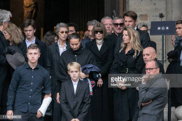 Charlotte Rampling, Jean-Jacques Bourdin, Anna Wintour and Bradley Cooper attend Peter Lindbergh's funeral at Eglise Saint-Sulpice on September 24,...