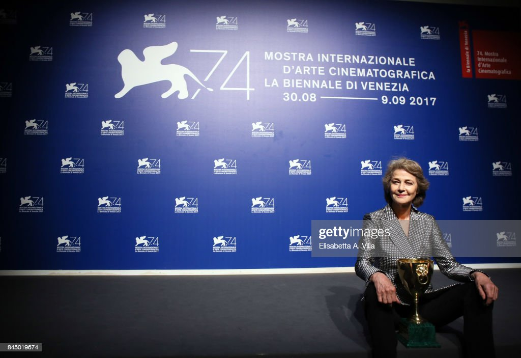 Charlotte Rampling poses with the Coppa Volpi for Best Actress Award for 'Hannah' at the Award Winners photocall during the 74th Venice Film Festival at Sala Casino on September 9, 2017 in Venice, Italy.