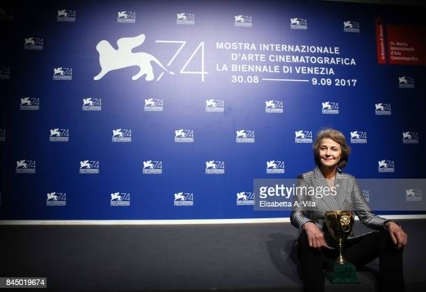 Charlotte Rampling poses with the Coppa Volpi for Best Actress Award for 'Hannah' at the Award Winners photocall during the 74th Venice Film Festival...