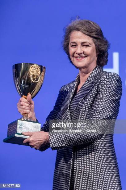 Charlotte Rampling receives the Coppa Volpi for best actress for Hannah during the Award Ceremony of the 74th Venice Film Festival at Sala Grande on...