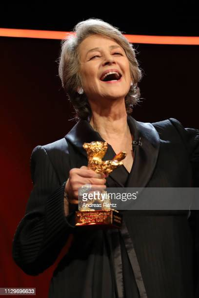 Charlotte Rampling receives the Golden Bear on stage at the Homage Charlotte Rampling Honorary Golden Bear award ceremony during the 69th Berlinale...
