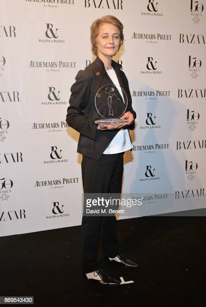 Charlotte Rampling winner of the British Icon award attends Harper's Bazaar Women of the Year Awards in association with Ralph Russo Audemars Piguet...