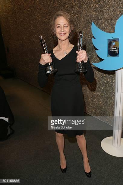 Charlotte Rampling with award during the European Film Awards 2015 at Haus Der Berliner Festspiele on December 12 2015 in Berlin Germany