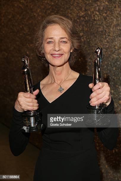 Charlotte Rampling with award during the European Film Awards 2015 at Haus Der Berliner Festspiele on December 12 2015 in Berlin Germany
