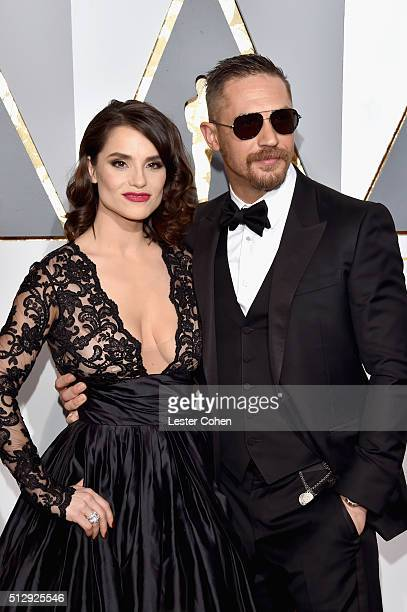 Charlotte Riley and actor Tom Hardy attend the 88th Annual Academy Awards at Hollywood Highland Center on February 28 2016 in Hollywood California