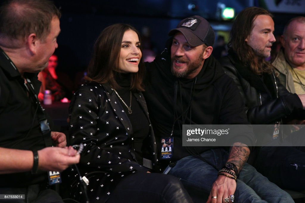 Charlotte Riley (L) and Tom Hardy (R) are seen ringside during BAMMA 31 at SSE Arena Wembley on September 15, 2017 in London, England.