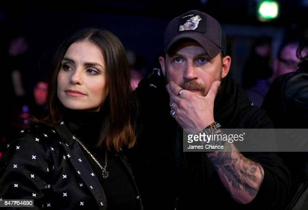 Charlotte Riley and Tom Hardy are seen ringside during BAMMA 31 at SSE Arena Wembley on September 15 2017 in London England