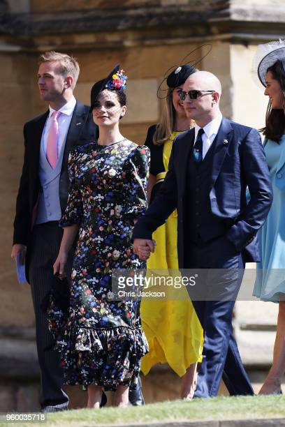 Charlotte Riley and Tom Hardy arrive at the wedding of Prince Harry to Ms Meghan Markle at St George's Chapel Windsor Castle on May 19 2018 in...