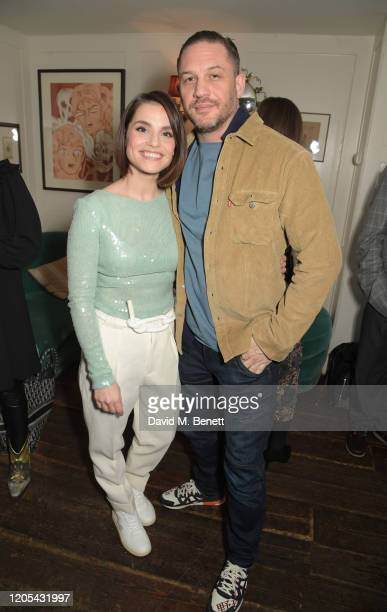 Charlotte Riley and Tom Hardy attend a drinks reception at Soho House to celebrate the announcement of a brandnew childcare facility at Warner Bros...
