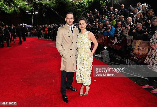 Charlotte Riley and Tom Hardy attend the UK Premiere of 'Edge Of Tomorrow' at the BFI IMAX on May 28 2014 in London United Kingdom
