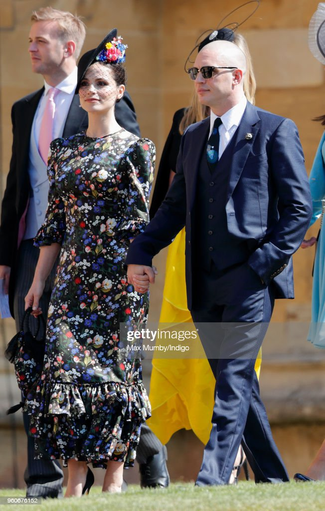 Charlotte Riley and Tom Hardy attend the wedding of Prince Harry to Ms Meghan Markle at St George's Chapel, Windsor Castle on May 19, 2018 in Windsor, England. Prince Henry Charles Albert David of Wales marries Ms. Meghan Markle in a service at St George's Chapel inside the grounds of Windsor Castle. Among the guests were 2200 members of the public, the royal family and Ms. Markle's Mother Doria Ragland.