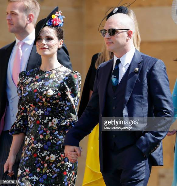 Charlotte Riley and Tom Hardy attend the wedding of Prince Harry to Ms Meghan Markle at St George's Chapel Windsor Castle on May 19 2018 in Windsor...