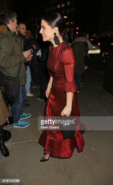 Charlotte Riley arrives at the Dunhill GQ preBAFTA Filmmakers Dinner and Party Cohosted by Andrew Maag Dylan Jones on February 15 2018 in London...