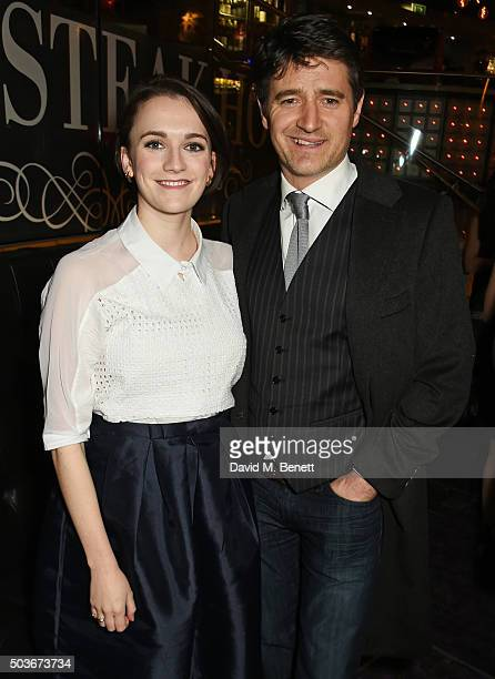 Charlotte Ritchie and Tom Chambers attend the press night after party for 'Guys And Dolls' at The Hippodrome Casino on January 6 2016 in London...