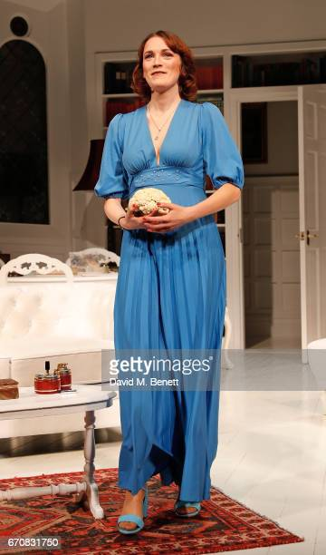 Charlotte Ritchie bows at the curtain call during the press night performance of 'The Philanthropist' at the Trafalgar Studios on April 20 2017 in...