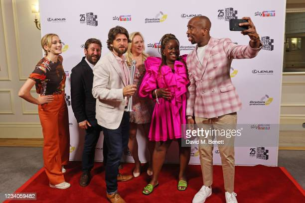 """Charlotte Ritchie, Jim Howick, Laurence Rickard, Martha Howe-Douglas, Lolly Adefope and Kiell Smith-Bynoe, accepting the Comedy Award for """"Ghosts,..."""
