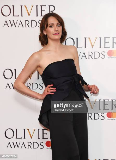 Charlotte Ritchie poses in the winners room at The Olivier Awards 2017 at Royal Albert Hall on April 9 2017 in London England