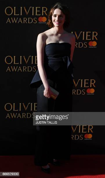 Charlotte Ritchie poses on the red carpet upon arrival to attend the 2017 Laurence Olivier Awards in London on April 9 2017 / AFP PHOTO / JUSTIN...