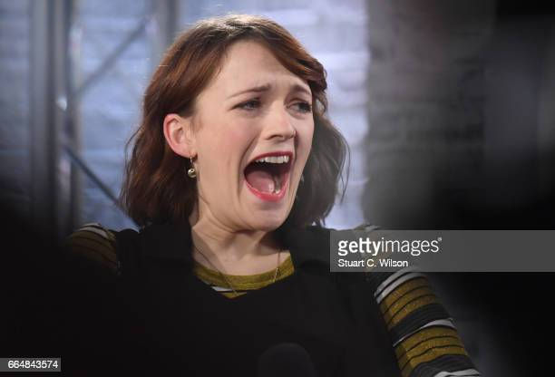 Charlotte Ritchie speaks at the Build LDN event with the cast of 'The Philantropist' at AOL London on April 5 2017 in London England