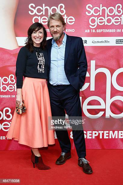Charlotte Roche and Soenke Wortmann attend the premiere of the film 'Schossgebete' at Residenz Astor Film Lounge on September 5 2014 in Cologne...