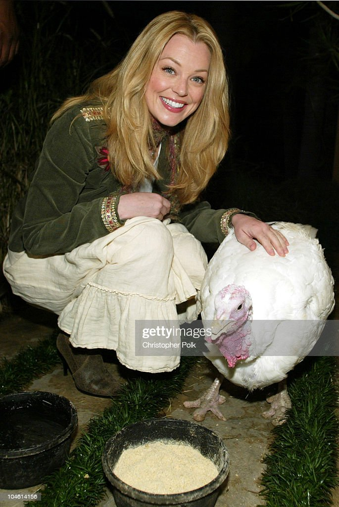 Charlotte Ross and Cloe the Turkey during Turkey Is Diner, Not Dinner, at Charlotte Ross's PETA Thanksgiving at Home of Celebrity Photographer Greg Gorman in Hollywood, CA, United States.