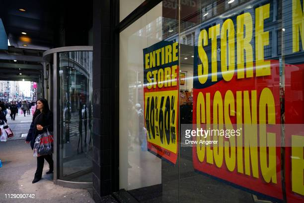 Charlotte Russe store displays liquidation signs in the window near Herald Square March 7 2019 in New York City Charlotte Russe a women's fashion...