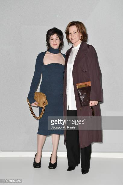 Charlotte Simpson and Sigourney Weaver attend the Bottega Veneta fashion show during the Milano Fashion Week Fall / Winter 2020 2021 on February 22...