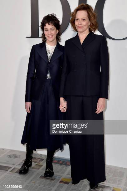 Charlotte Simpson and Sigourney Weaver attend the Dior show as part of the Paris Fashion Week Womenswear Fall/Winter 2020/2021 on February 25 2020 in...