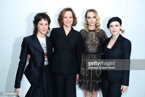 Charlotte Simpson her mother Sigourney Weaver Cara Delevingne and Rachel Brosnahan attends the Dior show as part of the Paris Fashion Week Womenswear...