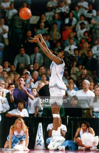 Charlotte Smith of North Carolina hits the winning three point jump shot at the buzzer in the 1994 NCAA Women's Championship game against Louisiana...
