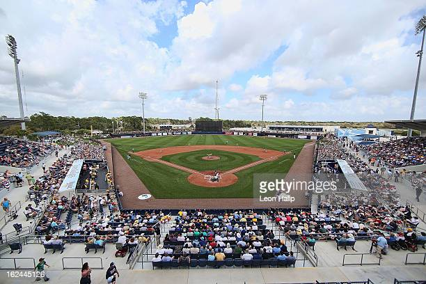 Charlotte Sports Park during the game between the Pittsburgh Pirates and the Tampa Bay Rays on February 23, 2013 in Port Charlotte, Florida. The...
