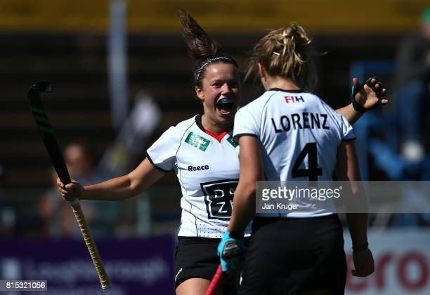 Charlotte Stapenhorst and Nike Lorenz of Germany celebrates the winning goal during day 5 of the FIH Hockey World League Women's Semi Finals Pool A...