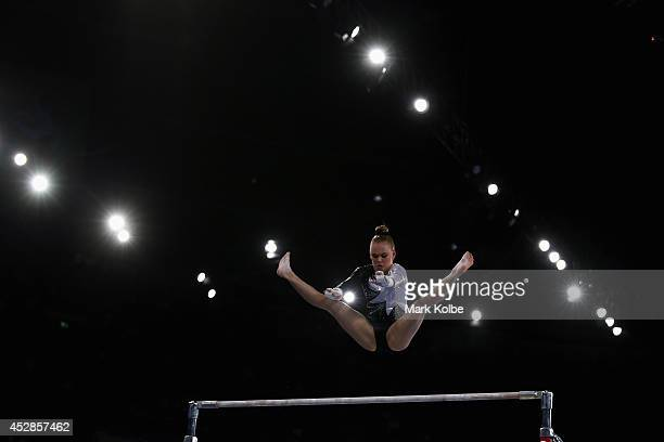 Charlotte Sullivan of New Zealand competes in the Women's Team Final Individual Qualification at the SECC Precinct during day five of the Glasgow...