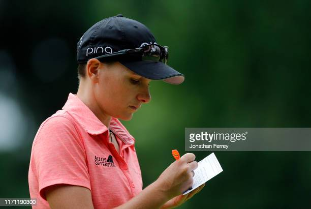 Charlotte Thomas of England fills out her scorecard on 14th hole during the second round of the LPGA Cambia Portland Classic at Columbia Edgewater...
