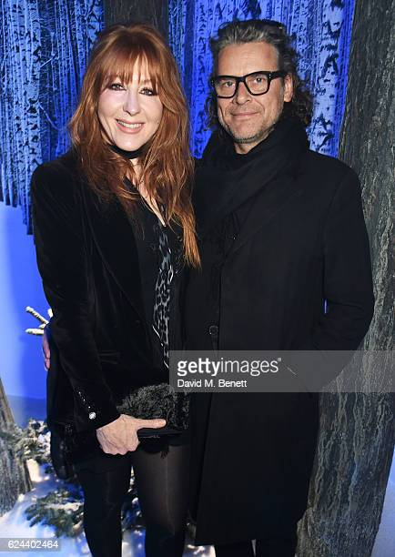 Charlotte Tilbury and George Waud attend Claridge's Christmas Tree 2016 Party with tree designed by Sir Jony Ive and Marc Newson at Claridge's Hotel...