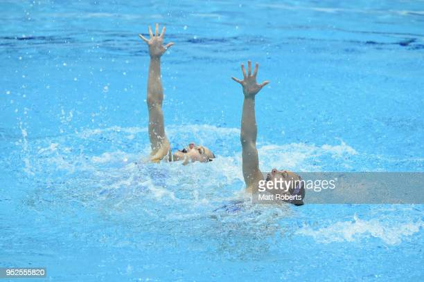 Charlotte Tremble and Laura Tremble of France compete during the Duet Free Routine on day three of the FINA Artistic Swimming Japan Open at the Tokyo...