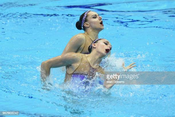 Charlotte Tremble and Laura Tremble of France compete during the Duet Free Routine final on day four of the FINA Artistic Swimming Japan Open at the...