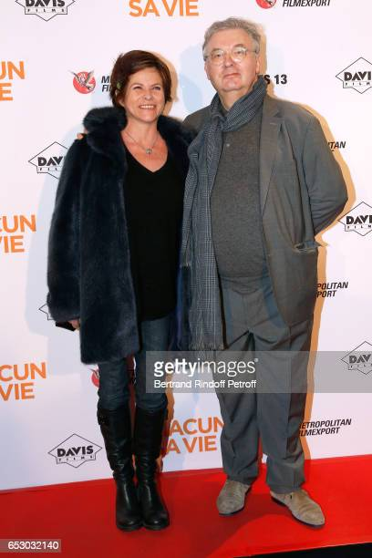 Charlotte Valandrey and Dominique Besnehard attend the 'Chacun sa vie' Paris Premiere at Cinema UGC Normandie on March 13 2017 in Paris France