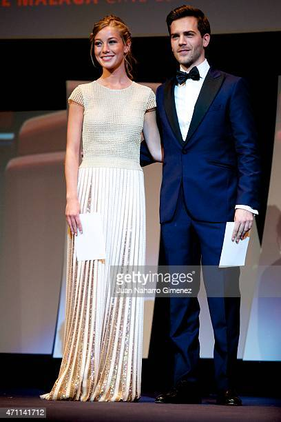 Charlotte Vega and Marc Cotet attend the 18th Malaga Spanish Film Festival ceremony at the Cervantes Theater on April 25 2015 in Malaga Spain