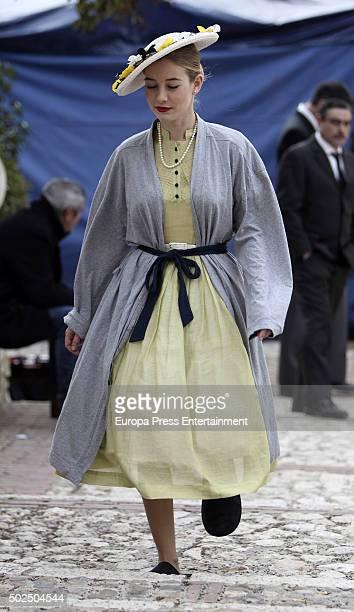 Charlotte Vega is seen during the set filming of 'Galerias Velvet' on December 14 2015 in Madrid Spain