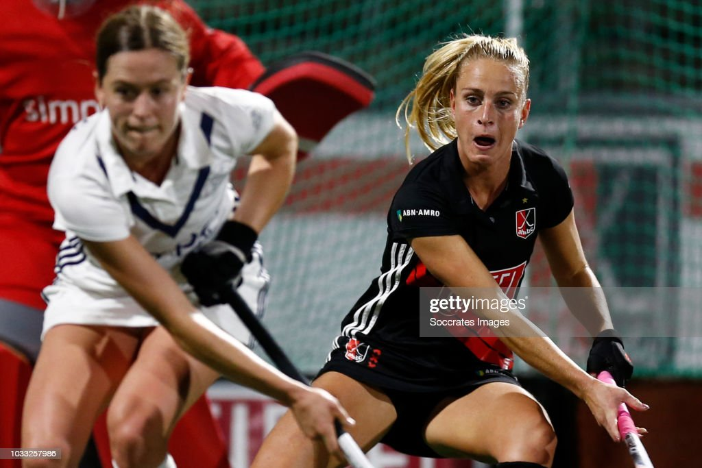 Charlotte Vega of Amsterdam D1 during the Hoofdklasse Women match between Amsterdam v Pinoke at the Wagener Stadium on September 14, 2018 in Amsterdam Netherlands