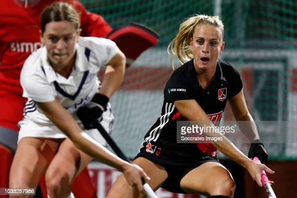 Charlotte Vega of Amsterdam D1 during the Hoofdklasse Women match between Amsterdam v Pinoke at the Wagener Stadium on September 14 2018 in Amsterdam...
