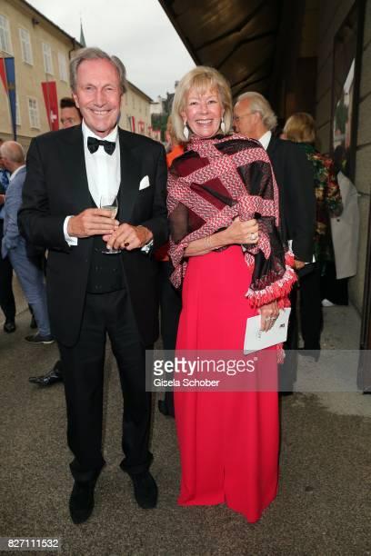 Charlotte von Bismarck and Reinhard von der Becke CEO Lux International and Forbes Lux Group attend the 'Aida' premiere during the Salzburg Opera...