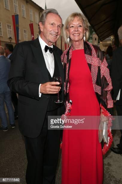 Charlotte von Bismarck and Reinhard von der Becke, CEO Lux International and Forbes Lux Group attend the 'Aida' premiere during the Salzburg Opera...