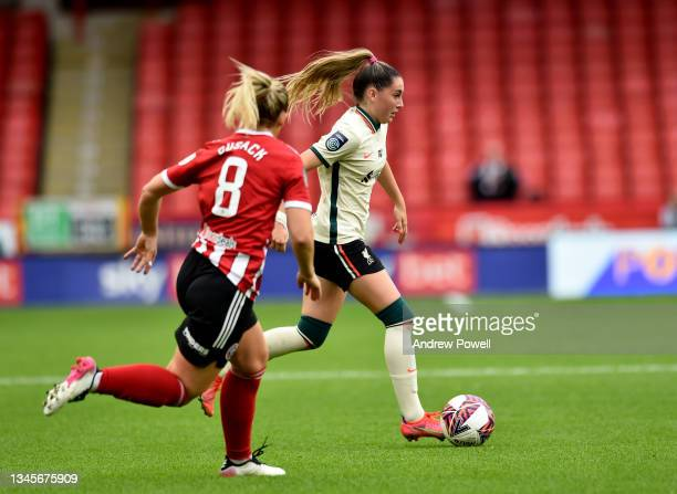 Charlotte Wardlaw of Liverpool Women during the Barclays FA Women's Championship match between Sheffield United Women and Liverpool Women at Bramall...