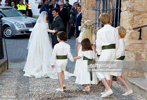 Charlotte Wellesley and Alejandro Santo Domingo attend their wedding on May 28, 2016 in Granada, Spain.