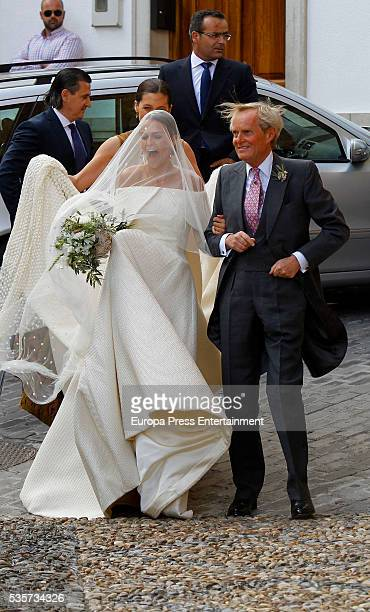 Charlotte Wellesley and her father Duke of Wellington Arthur Charles Valerian Wellesley attend her wedding with Alejandro Santo Domingo's wedding on...