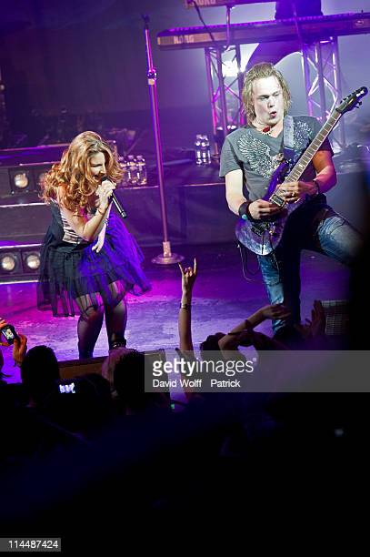 Charlotte Wessels and Timo Somers of Delain performs at L'Alhambra on May 21 2011 in Paris France