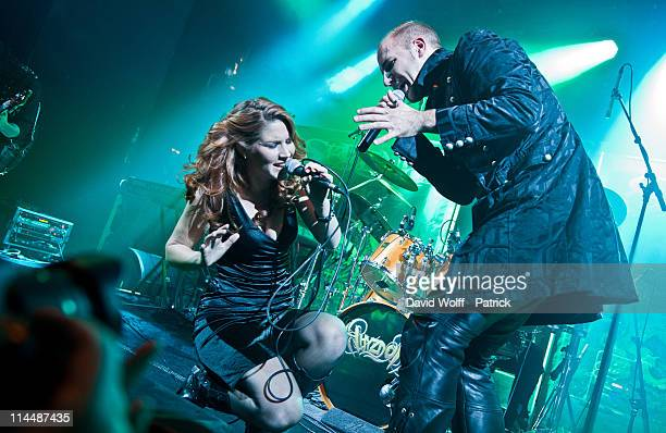 Charlotte Wessels of Delain and Georg Neuhauser of Serenity perform at L'Alhambra on May 21 2011 in Paris France
